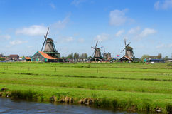 Wind mills in Zaanse Schans Royalty Free Stock Photos
