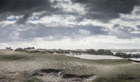 Wind mist and rain in the same time coastline in Britanny, Franc. E royalty free stock image