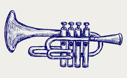 Wind musical instrument. Doodle style Stock Images