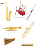 Wind musical instruments set icons stock vector illustration Stock Image