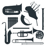 Wind musical instruments silhouette vector. Musical instruments silhouette  under white background. Blow blare studio acoustic shiny musician equipment Royalty Free Stock Photos