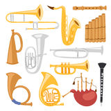 Wind musical instruments tools isolated on white background acoustic musician equipment orchestra vector illustration Stock Images