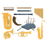 Wind musical instruments vector. Royalty Free Stock Photo