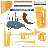 Wind musical instruments vector. Royalty Free Stock Photos
