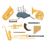 Wind musical instruments vector. Stock Images
