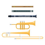 Wind musical instruments vector. Stock Photos