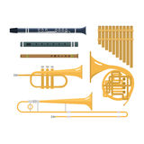 Wind musical instruments vector. Stock Photo