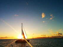 Wind in my Sails. Sunset Sailing around Waikiki Stock Images