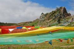 Wind-paard vlag in Tibet royalty-vrije stock afbeelding