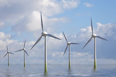 Wind Park. This image shows some wind generator at sea royalty free stock photography