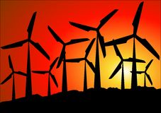 Wind park. A renewable energy source Royalty Free Stock Photo