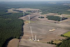 A wind park. A new wind energy park is build up near Cottbus in Germany Stock Image