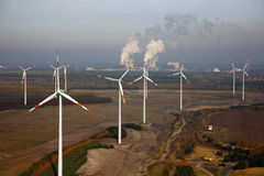 A wind park. A new wind energy park is build up near Cottbus in Germany Royalty Free Stock Image
