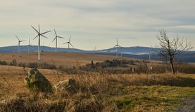 Wind park in the Ore Mountains in the autumn. Stock Photo
