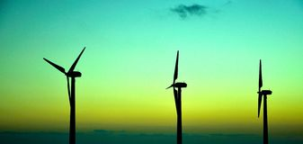 Wind park before the sunrise Stock Images