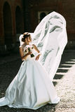 Wind is playing with the bridal veil. A Royalty Free Stock Images