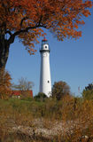 Wind Point Lighthouse. In Autumn Stock Images