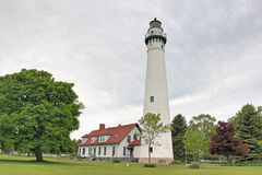 Wind Point Lighthouse. On Lake Michigan near Milwaukee Wisconsin stock images
