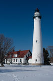 Wind Point Lighthouse in Winter Stock Photo