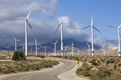 Wind power. Wind turbines on a hillside producing clean energy Stock Images