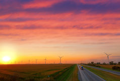 Wind power. Large windmill farm in Indiana along I-65 corridor Royalty Free Stock Image