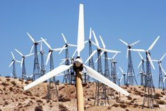 Wind Power. A windmill farm in the sandy desert near Desert Hot Springs, CA Royalty Free Stock Photos