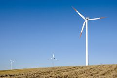 Wind Power. Horizontal Axis Wind Turbine (HAWT) surrounded by cereal fields Stock Photography