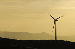 Wind power aerogenerator skyline at dusk. Fuendetodos; Spain Royalty Free Stock Image