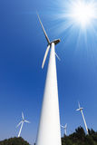 Wind power against a blue sky Royalty Free Stock Images