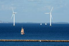 Wind Power Copenhagen Denmark ancient and modern Stock Photo