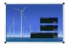 Wind power display - german (clipping path) Stock Images