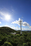 Wind power Eco Energy. Wind power turbine offering an eco friendly electricity energy source in Hong Kong Stock Photo