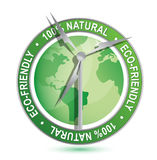 Wind power Eco-friendly sign and symbol Royalty Free Stock Photo