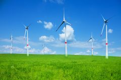 Wind power electricity turbines Stock Photo