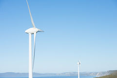 Wind Power Farm Albany Australia. Wind farm along coast of Southern Ocean in Western Australia, supplying renewable energy to town of Albany, summer sunny blue Stock Images