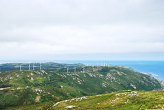 Wind power farm on Cape Vilan, Galicia, Spain Royalty Free Stock Photo