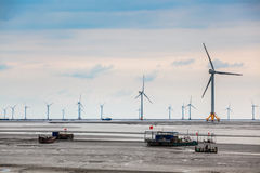 Wind power farm in coastal mud flat Stock Image