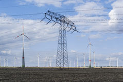 Wind power farm with power line Stock Photography