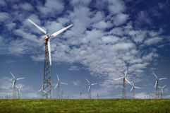 Wind Power. In the field under clouds Stock Image