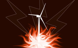 Wind power, fire, lightning as background ilustration Stock Image