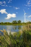 Wind power generating stations in the park. Of Pickering, Ontario stock images