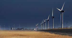 Wind power generation 2. China south yellow sea has a great wind resources, wind power generation has become an important source of power Royalty Free Stock Photo