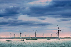 Wind power generation 3. China south yellow sea has a great wind resources, wind power generation has become an important source of power Royalty Free Stock Images