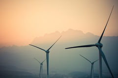 Wind power generation turbine closeup at dusk Stock Photography