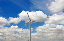 Wind power generator. Wind power generator and blue sky, France, Europe Stock Image