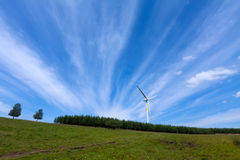 Wind power generator on the grassland Royalty Free Stock Photo