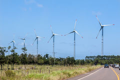 Wind Power Generators Brazil. A route with cars and six Wind Power Generators in the horizon, Osorio, Rio Grande do Sul, Brazil Royalty Free Stock Photography