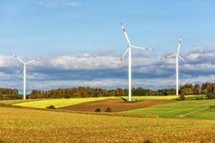 Wind power generators. The wind power generators in Hofoldinger Forst of Germany Stock Photography