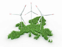 Wind power generators on the map of Europe Stock Photos