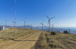Wind power generators at a power plant. Royalty Free Stock Photos